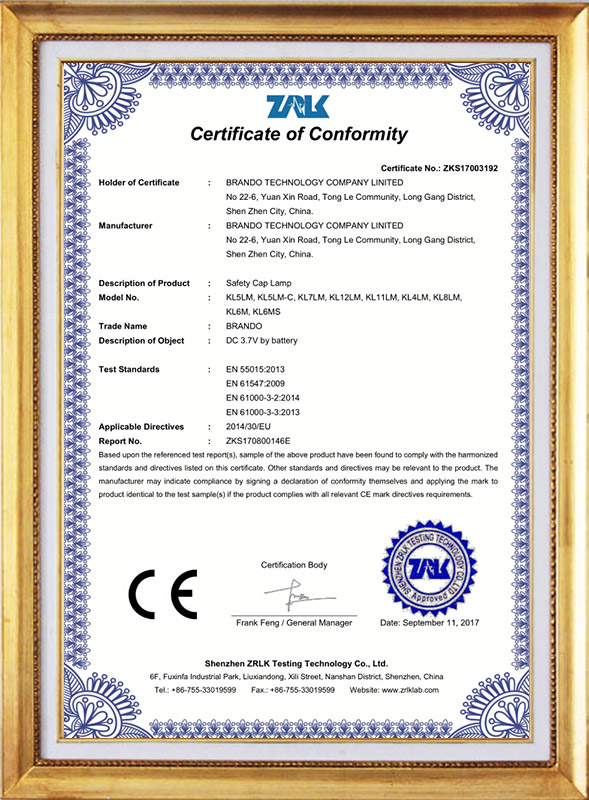 Corded mining cap lamp CE approval