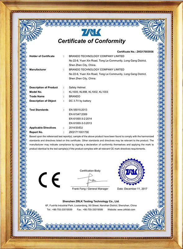 KL1000 helmet CE approval