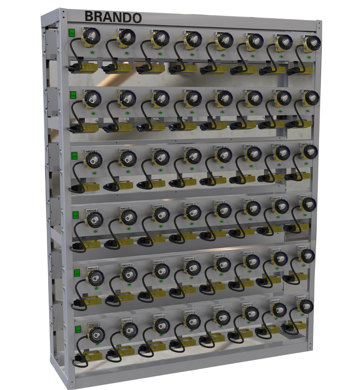 BRANDO 96units LED Cap Lamp Charger Racks with detachable modular