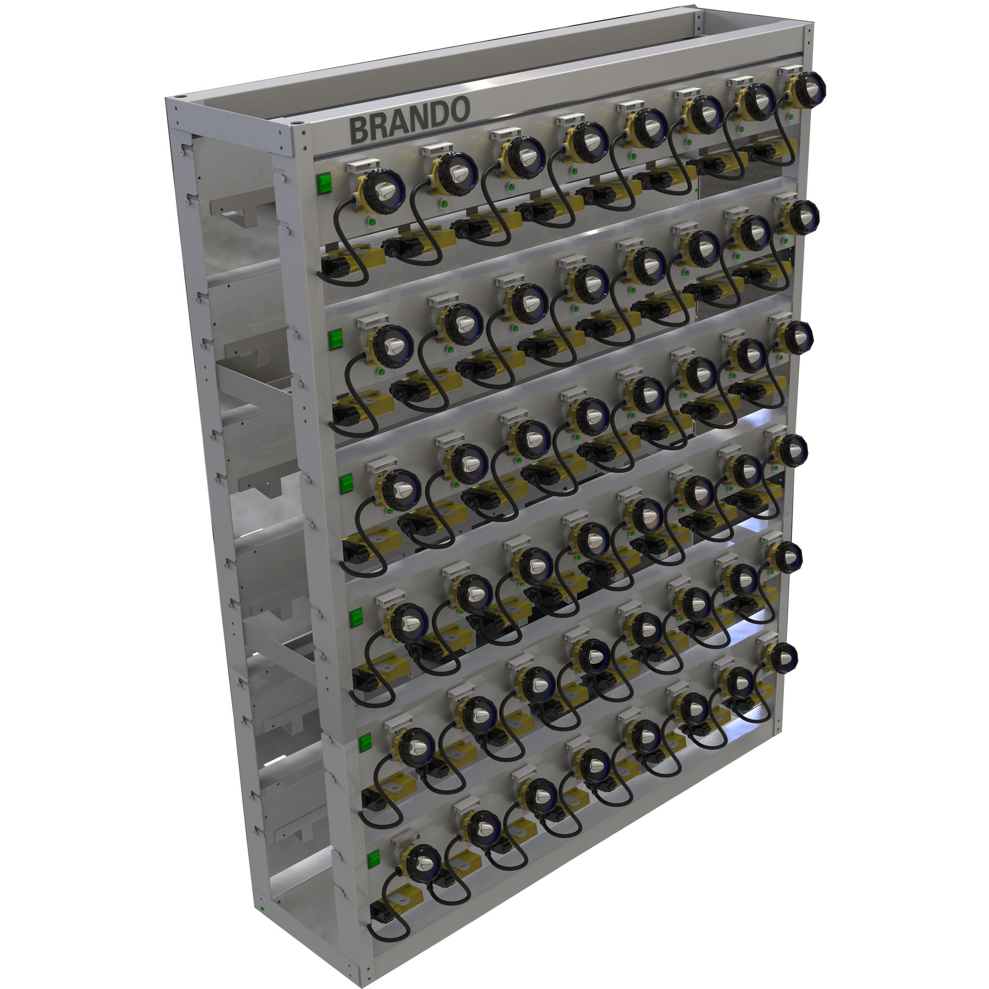 BRANDO 96units LED Cap Lamp Charger Racks with detachable modular